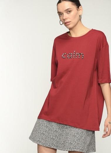 NGSTYLE Ngkaw21Ts0009 Işlemeli Oversize Tshirt Bordo